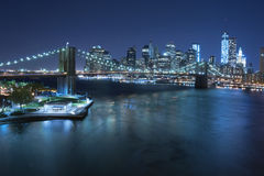 Brooklyn-Brücken- und Manhattan-Skyline, New York City Lizenzfreies Stockfoto