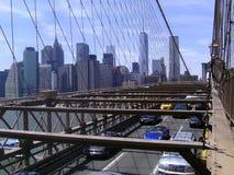 Brooklyn-Brücken-Weg und Fahrrad Stockfotografie