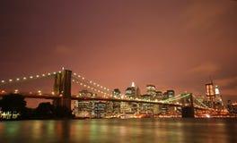 brooklyn bridżowa noc Fotografia Royalty Free
