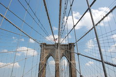 Brooklyn bridge. At Manhattan. Perspective Stock Images