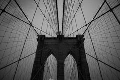 Brooklyn bridge. Architectural details of Brooklyn bridge silhouetted at twilight, New, York, U.S.A Royalty Free Stock Image