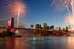 Brooklyn Bridge 125th Anniversary. Celebration in May 2008 with fireworks Royalty Free Stock Image