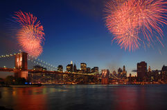 Brooklyn Bridge 125th Anniversary. Celebration in May 2008 with fireworks Stock Image