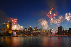 Brooklyn Bridge 125th Anniversary. Celebration in May 2008 with fireworks Stock Images