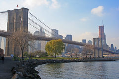 Brooklyn bridge. On a sunny afternoon Stock Photos