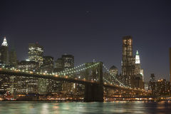 Brooklyn and Manhattan bridge. Panoramic view of Brooklyn and Manhattan bridge illuminated at night, New York, U.S.A Royalty Free Stock Images