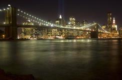 Brooklyn Bridge. The Brooklyn Bridge and lower Manhattan at night royalty free stock image