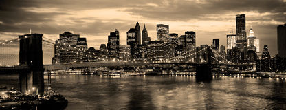 Brooklyn Bridge. In new York City over the East River royalty free stock images