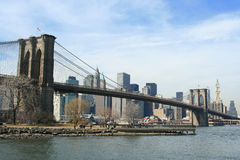 Brooklyn Bridge. And Manhattan skyline on a Clear Blue day Stock Images