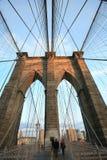 Brooklyn Bridge. Half way across the bridge you get the fantastic support towers Royalty Free Stock Photos