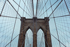 Brooklyn Bridge. Looking in the sky Stock Photography