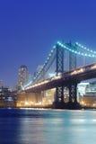 Brooklyn bridge. In New York at night Stock Images