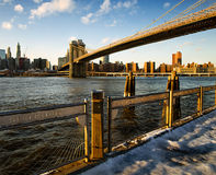 Brooklyn Bridge. The silhouette of the famous bridge between Manhattan and Brooklyn Royalty Free Stock Photography