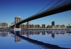 Brooklyn Bridge. Under a beautiful blue sky Royalty Free Stock Photography