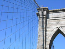 Brooklyn Bridge. A view looking up at the Brooklyn Bridge in New York City Royalty Free Stock Photos