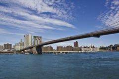 Brooklyn Bridge. A view of Brooklyn bridge over East river Stock Image