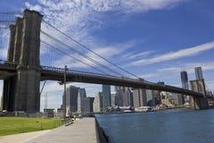 Brooklyn Bridge. A scenic view of the Brooklyn Bridge maintenance on a beautiful day Royalty Free Stock Image