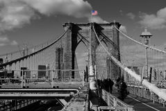 Black and White Brooklyn Bridge Royalty Free Stock Photos