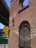 Brooklyn Bridge. Closeup of dead end sign underneath Brooklyn Bridge, New York City, U.S.A royalty free stock photography