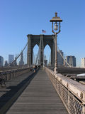 Brooklyn bridge. Photo of the boardwalk on the Brooklyn bridge in New York stock photography
