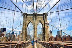 Brooklyn Bridge. Closeup of cables and tower of the Brooklyn Bridge Royalty Free Stock Photography