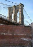 Brooklyn bridge. Behind a wall stock image
