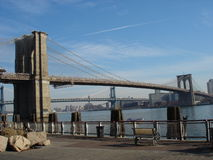 Brooklyn Bridge. Photo taken around Christmas time of the famous Brooklyn Bridge, with Manhattan Bridge in the background Stock Image