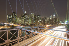 Brooklyn bridge. And skyline in the night Royalty Free Stock Photo