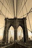 Brooklyn Bridge. In sepia new york city stock image