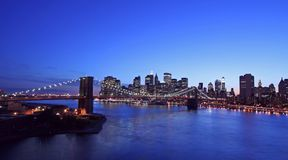 Brooklyn Bridge- aerial view. Brooklyn Bridge and New York City- aerial view Royalty Free Stock Images