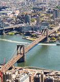 Brooklyn Bridge, aerial view of city skyline Royalty Free Stock Photo