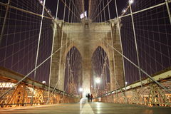 Brooklyn Bridge arch on a cold winter night Stock Image