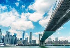 Brooklyn Bridge as seen from underneath. New York stock photography