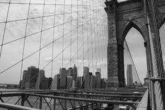 Brooklyn Bridge. A beautiful view of Brooklyn bridge and from Brooklyn Bridge en black and white, took in 2015 stock photos