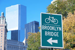 Brooklyn Bridge Bike sign, New York City Stock Image
