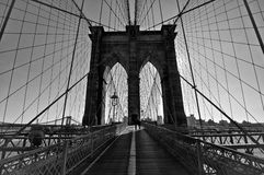 Brooklyn Bridge, Black and White. Black and white of the world famous Brooklyn Bridge walkway Stock Photos