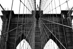 Brooklyn Bridge tower in black and white Royalty Free Stock Photography