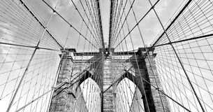 Brooklyn bridge in black and white, downtown Manhattan, New York, USA. Brooklyn bridge in black and white, cloudy sky, downtown Manhattan, New York, USA stock photography
