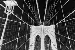 Brooklyn Bridge, black and white invert photo, New York City, USA stock photography
