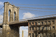 Brooklyn Bridge and Brownstone Stock Photos