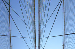 Brooklyn Bridge Cables. Looking directly up at the cables that hold up the roadway of the Brooklyn Bridge Royalty Free Stock Photography