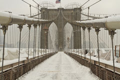 Brooklyn Bridge Cables in snow Royalty Free Stock Image