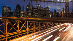 Brooklyn bridge car traffic light timelapse - New York - USA stock video footage
