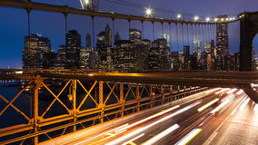 Brooklyn bridge car traffic light timelapse - New York - USA stock video