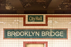 Brooklyn Bridge City Hall Subway Station - New York City Royalty Free Stock Photo