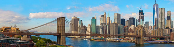 Brooklyn Bridge and Cityscape of New York Stock Images