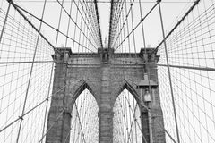 Brooklyn bridge. Close up of Brooklyn bridge in black and white Stock Images