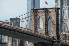 Brooklyn Bridge close-up. In New York City Stock Photos