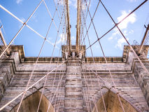 Brooklyn Bridge Date. View from below of the Brooklyn bridge arches Royalty Free Stock Photos