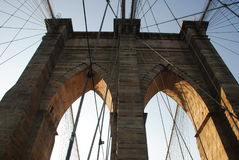 Brooklyn Bridge Details. Medieval archs and metal ropes from brooklyn bridge Royalty Free Stock Photo